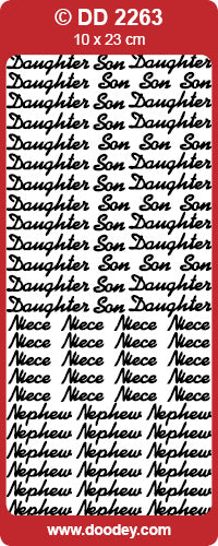 CRAFT STICKER SON DAUGHTER NIECE NEPHEW GOLD