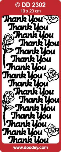 CRAFT STICKER THANK YOU LARGE SILVER