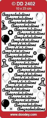 CRAFT STICKER CONGRATULATIONS SILVER
