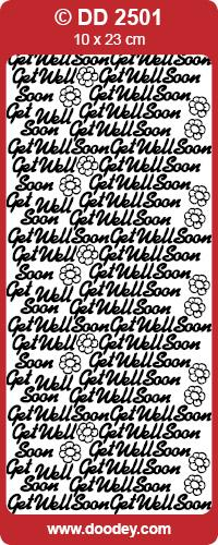 CRAFT STICKER GET WELL SOON SILVER
