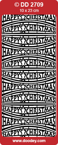 STICKER HAPPY CHRISTMAS CURVED SILVER