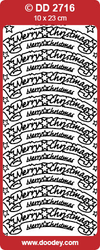 STICKER MERRY CHRISTMAS BANNER SILVER
