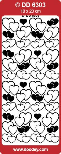 CRAFT STICKER PAIR OF HEARTS SILVER