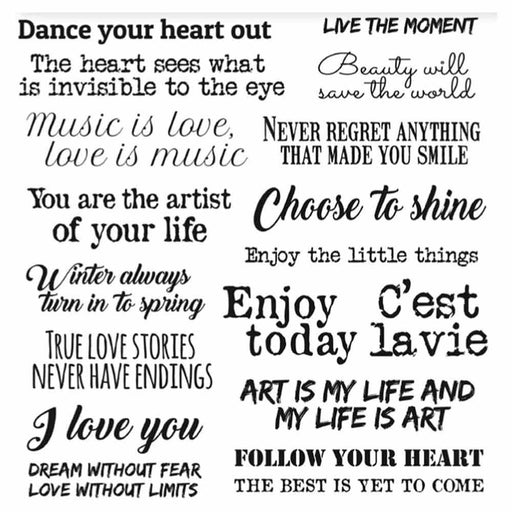 STAMPERIA ADHESIVE PAPER 21CM X21CM ART AND LOVE PHRASES