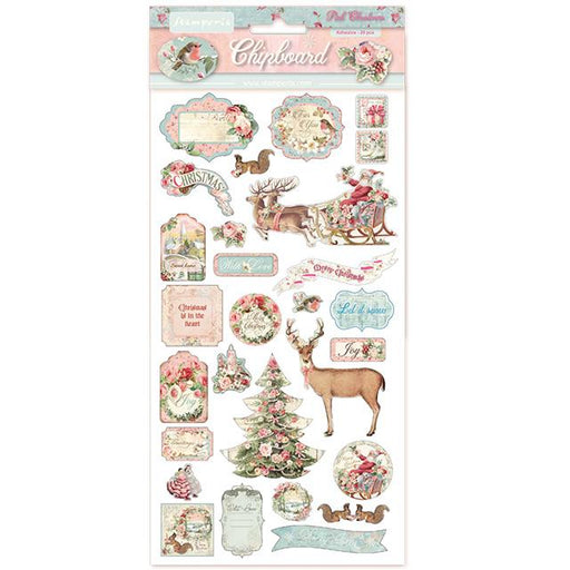 STAMPERIA   CHIPBOARD 15X 30 CM PINK CHRISTMAS