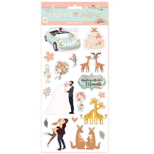 STAMPERIA   CHIPBOARD 15X 30 CM  LOVE STORY WEDDING