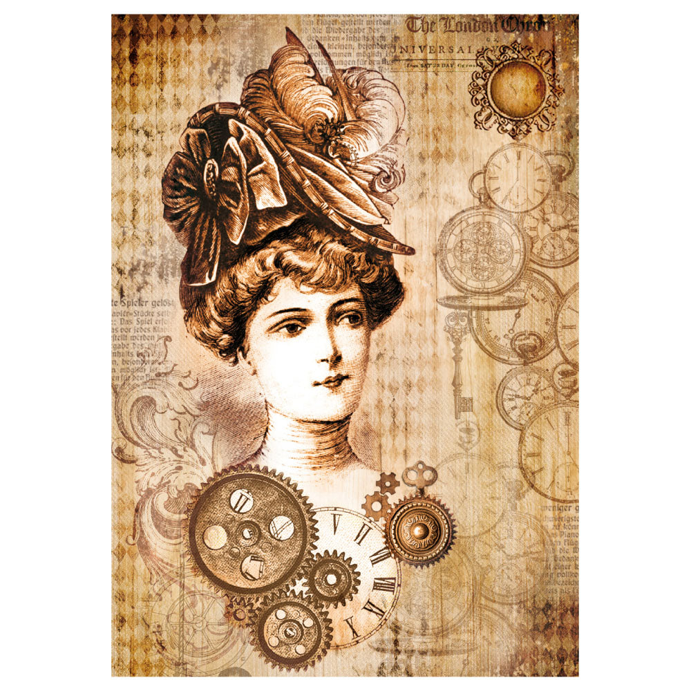 STAMPERIA A4 RICE PAPER STEAMPUNK WOMAN WITH HAT