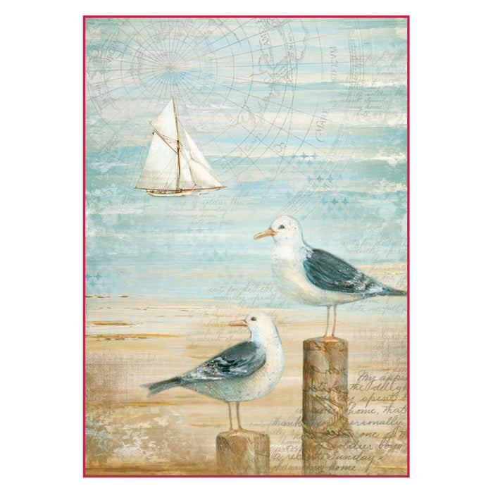 STAMPERIA A4 RICE PAPER SEA LAND SEAGULLS