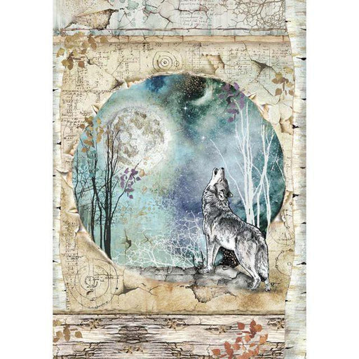 STAMPERIA A4 RICE PAPER  COSMOS  WOLF AND MOON