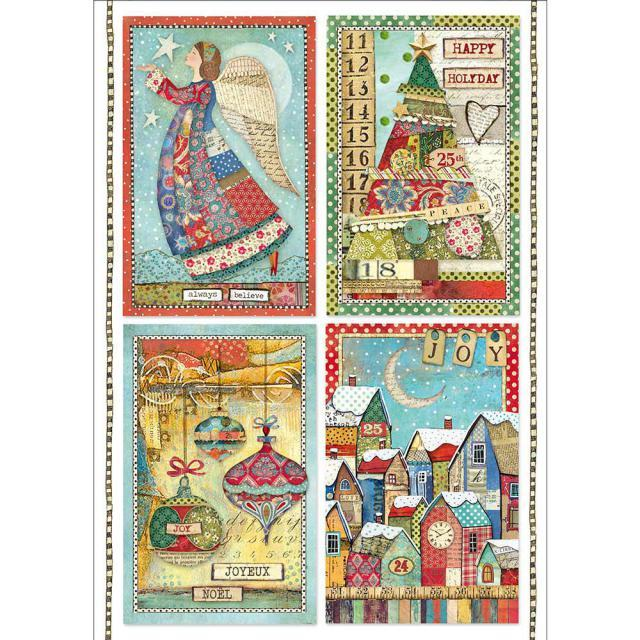 STAMPERIA A4 RICE PAPER  PATCHWORK POSTCARDS