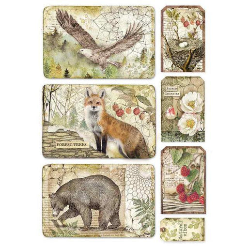 STAMPERIA A4 RICE PAPER FOREST EAGLE BEAR FOX