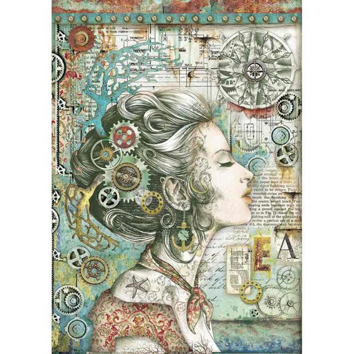 STAMPERIA A4 RICE PAPER SEA WORLD LADY WITH COMPASS