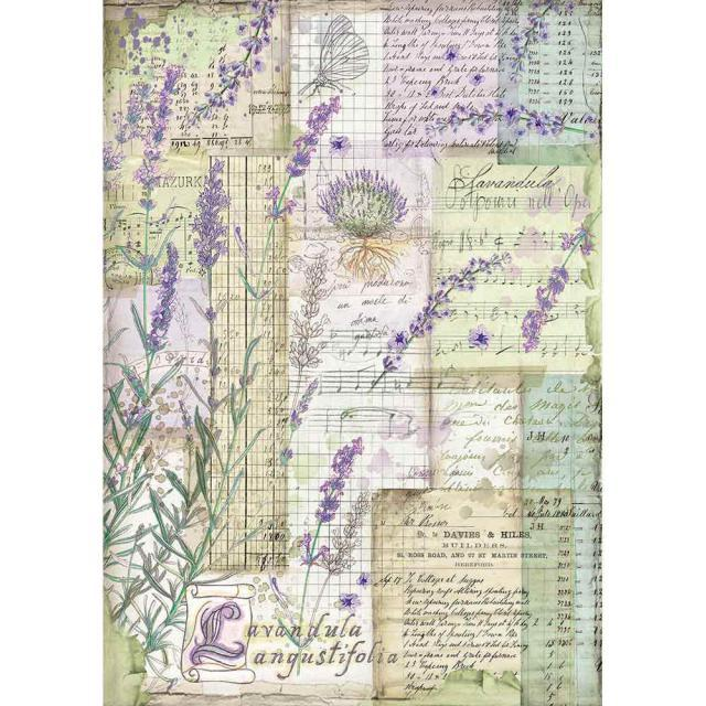 STAMPERIA A4 RICE PAPER   LAVENDER FANASY