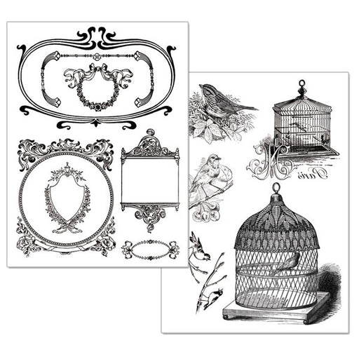 STAMPERIA A4 TRANSFER PAPER B W 2 SHEET  CAGE AND BIRDS