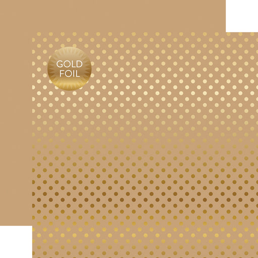 ECHO PARK  12X12 PAPER DOTS STRIPE GOLD FOIL TAN