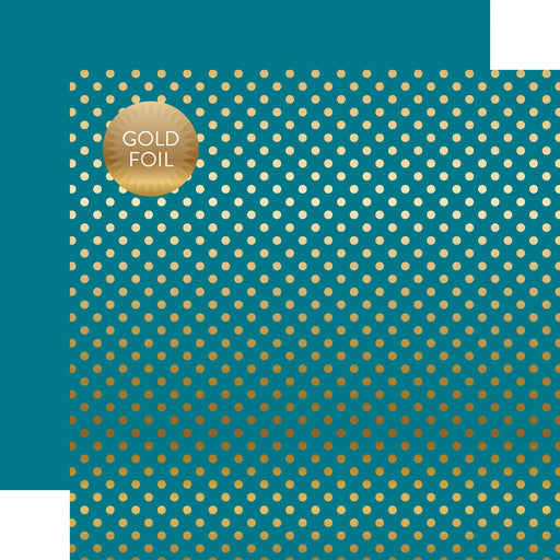 ECHO PARK  12X12 PAPER DOTS STRIPE  GOLD FOIL BLUE