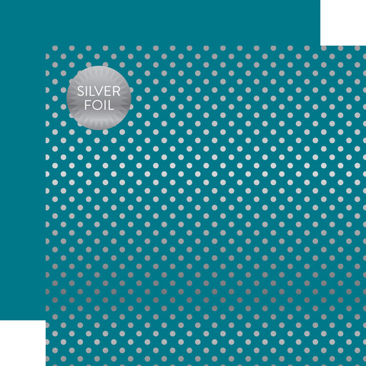 ECHO PARK  12X12 PAPER DOTS STRIP SILVER FOIL BLUE