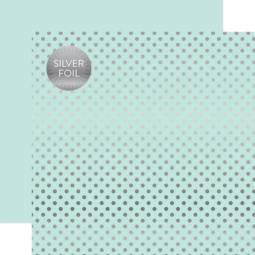 ECHO PARK  12X12PAPER DOTS STRIP SILVER FOIL LT MINT