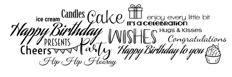 WOODWARE  CLEAR STAMPS  ALL ABOUT BIRTHDAY
