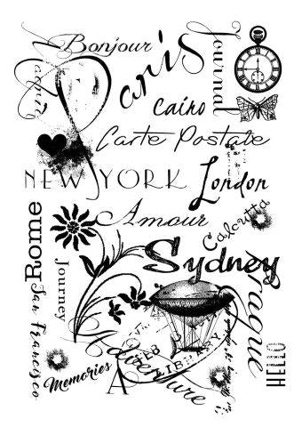 WOODWARE  CLEAR STAMPS  TRAVEL BACKGROUND