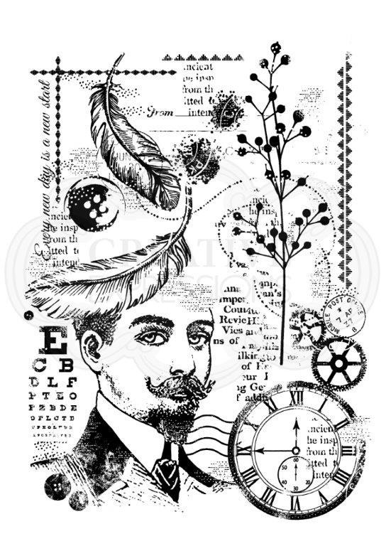 WOODWARE  CLEAR STAMPS GENTLEMAN COLLAGE