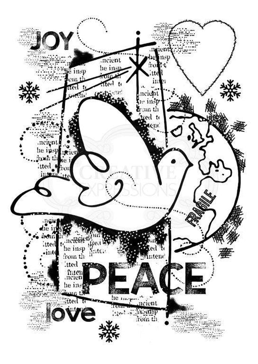 WOODWARE  CLEAR STAMPS   WORLD PEACE