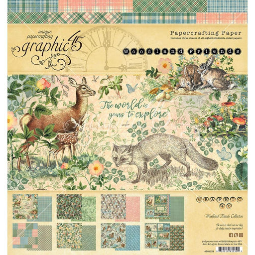 GRAPHIC 45    8 X 8 PAPER PAD   WOODLAND FRIEND