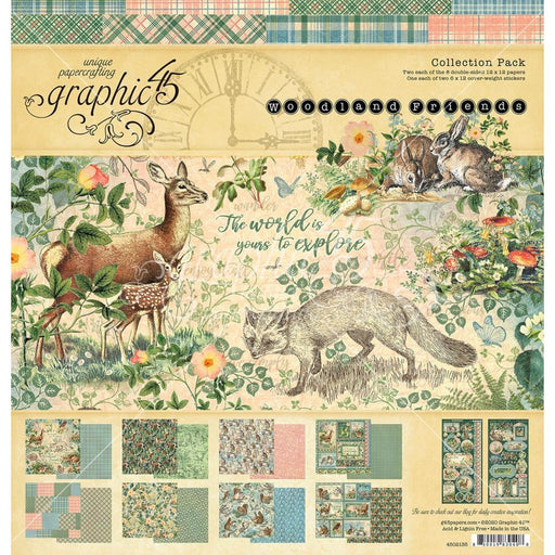 GRAPHIC 45    12 X 12 COLLECTION PACK   WOODLAND FRIEND