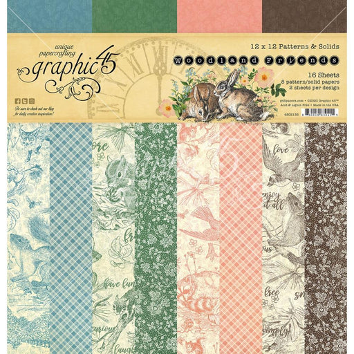 GRAPHIC 45    12 X 12  PATTENS AND SOLIDS PACK  WOODLAND FRIEND