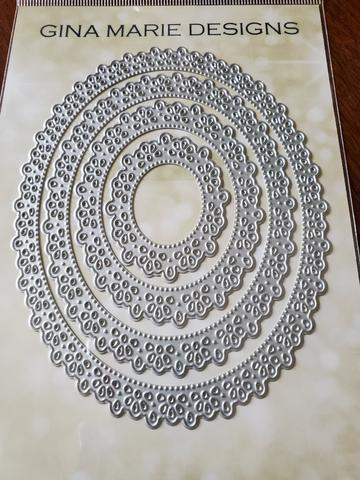 GINA MARIE DESIGNS DIES  FLOWER PLEATED LACE NESTED OVAL