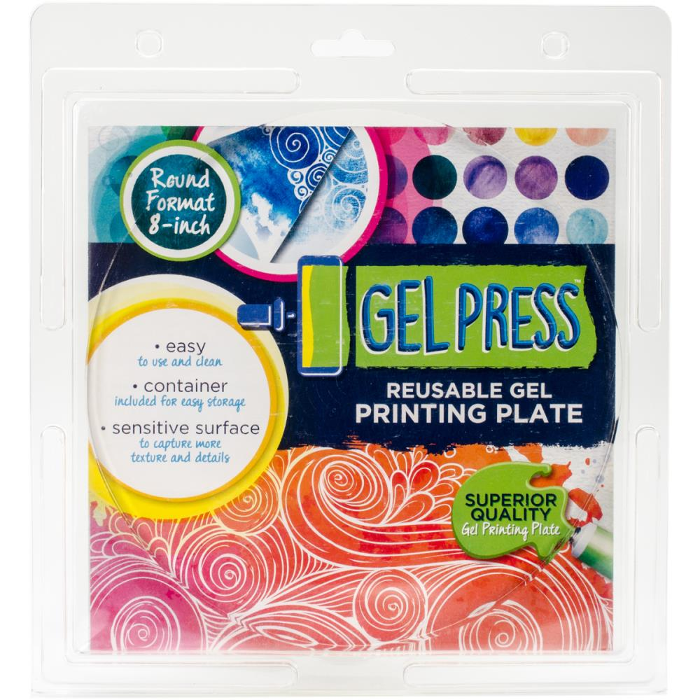 GEL PRESS REUSABLE PRINTING PLATE 8 INCH ROUND