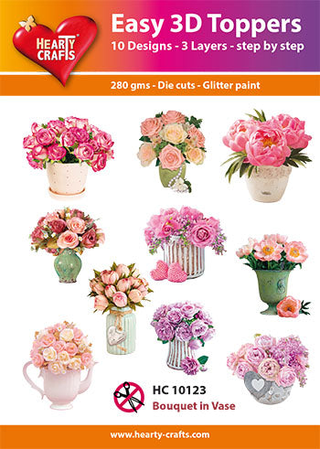 HEARTY CRAFTS EASY 3D TOPPERS FLOWER BOUQUET IN VASE