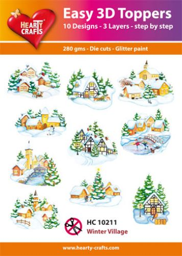 HEARTY CRAFTS EASY 3D TOPPERS WINTER VILLAGE