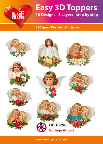 HEARTY CRAFTS EASY 3D TOPPERS VINTAGE ANGELS