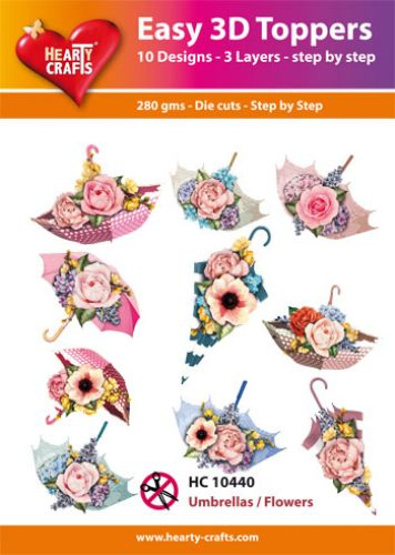 HEARTY CRAFTS EASY 3D TOPPERS  UMBRELLA  FLOWERS