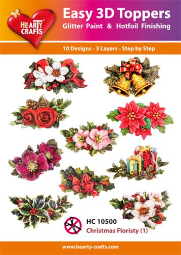 HEARTY CRAFTS EASY 3D TOPPERS CHRISTMAS FLORISTY