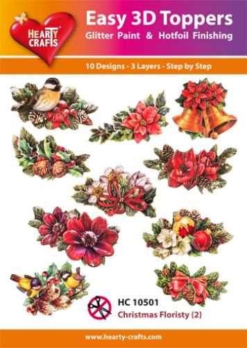 HEARTY CRAFTS EASY 3D TOPPERS CHRISTMAS FLORISTY 2