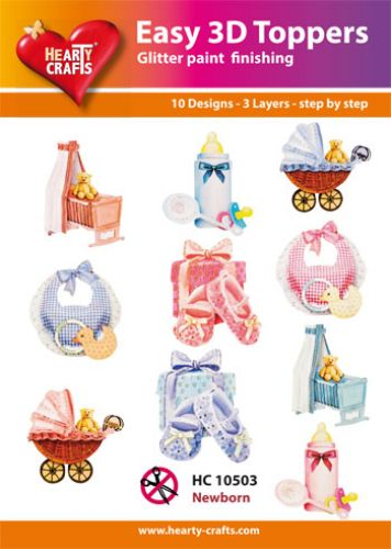 HEARTY CRAFTS EASY 3D TOPPERS BABY BORN BOY GIRL