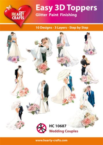 HEARTY CRAFTS EASY 3D TOPPERS  WEDDING COUPLES
