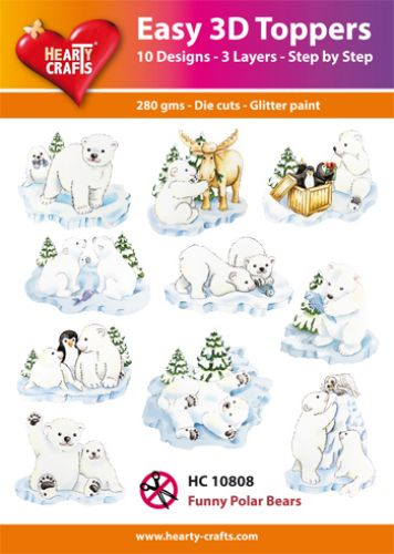 HEARTY CRAFTS EASY 3D TOPPERS FUNNY POLAR  BEARS