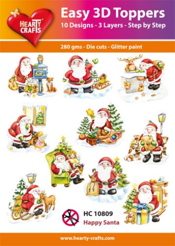 HEARTY CRAFTS EASY 3D TOPPERS  HAPPY SANTA