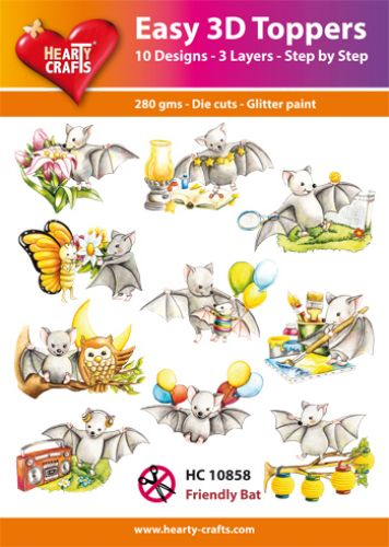 HEARTY CRAFTS EASY 3D TOPPERS FRIENDLY BAT