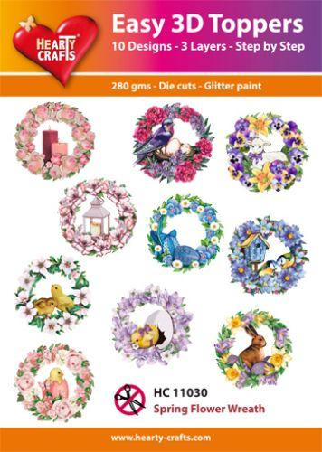 THEARTY CRAFTS EASY 3D TOPPERS  SPRING FLOWER WREATH