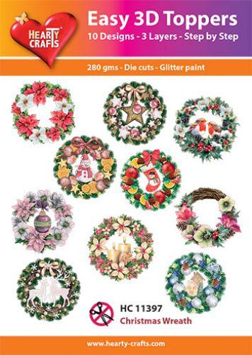 HEARTY CRAFTS EASY 3D TOPPERS CHRISTMAS WREATH