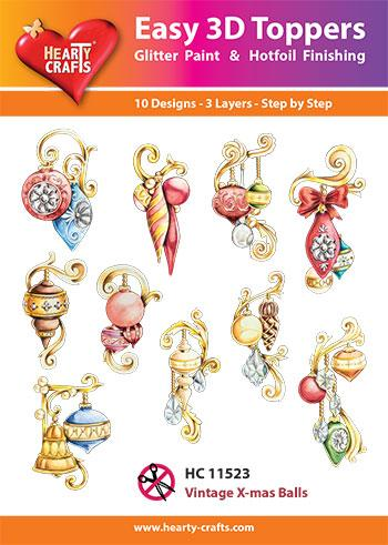 HEARTY CRAFTS EASY 3D TOPPERS VINTAGE XMAS BALLS