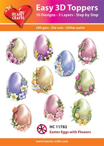 HEARTY CRAFTS EASY 3D TOPPERS  EASTER EGGS WITH FLOWERS
