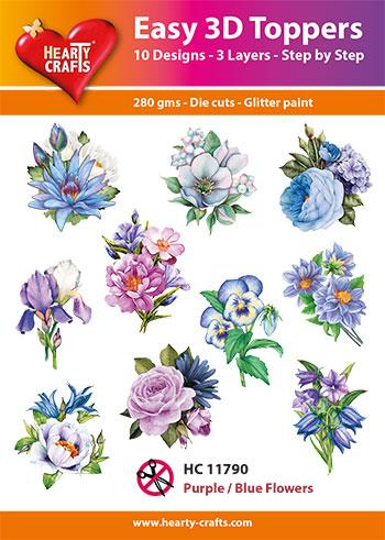 HEARTY CRAFTS EASY 3D TOPPERS  PURPLE/ BLUE FLOWERS