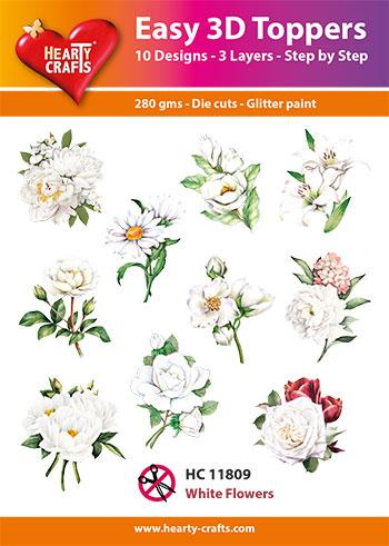 HEARTY CRAFTS EASY 3D TOPPERS WHITE FLOWERS