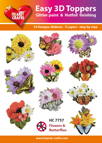 HEARTY CRAFTS EASY 3D TOPPERS FLOWERS & BFLIES