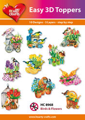 HEARTY CRAFTS EASY 3D TOPPERS BIRDS AND FLOWERS
